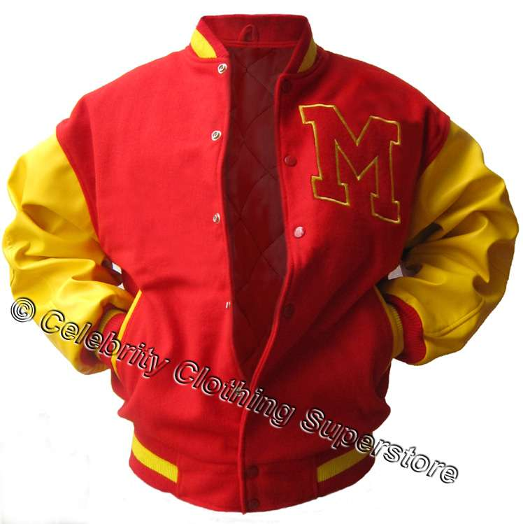An exact replica of the custom varsity jacket, made in 100% real wool, leather sleeves, fully lined, totally superb