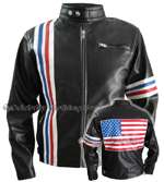 Easy Rider Vintage Leather Jacket With Flag