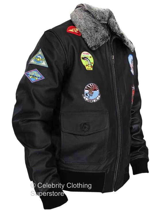 Top Gun G 1 Military Flight Aviator Leather Jacket With Badges
