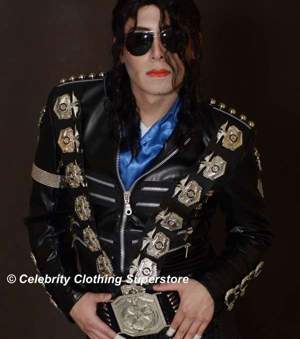 Michael Jackson Bad Jacket with Silver Eagle Badges - $299.99